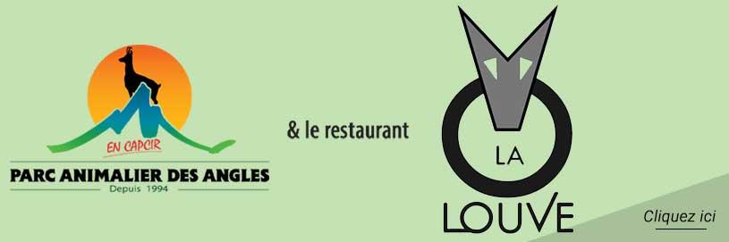 logo du parc animalier des angles et le restaurant la louve